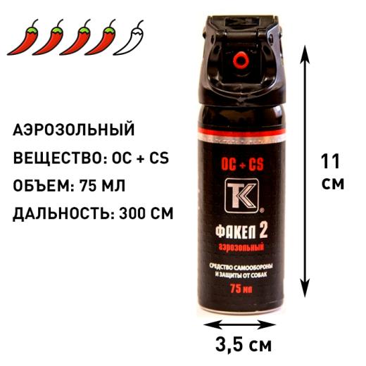 Аэрозольный газовый баллончик Факел-2, 75 мл