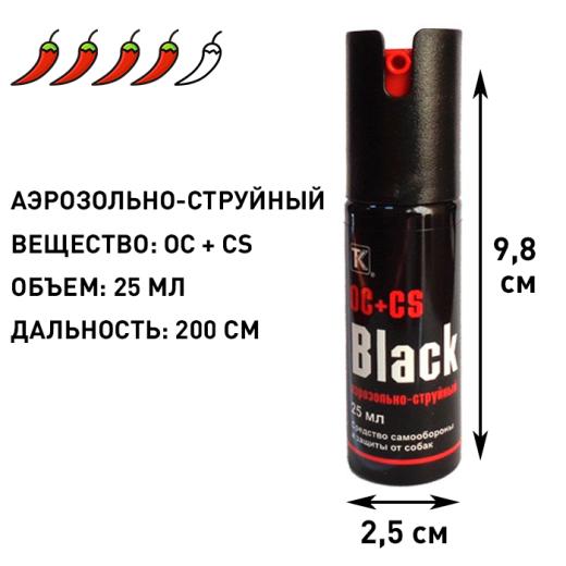 Аэрозольно-струйный газовый баллончик Black, 25 мл