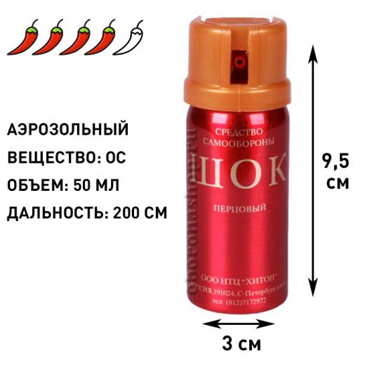 Аэрозольный газовый баллончик Шок, 50 мл